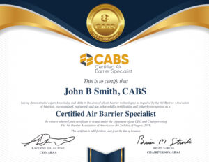 Certified Air Barrier Specialist (CABS) - Example Certificate | Air Barrier Association of America