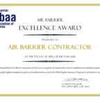 Air Barrier Excellence Certificate